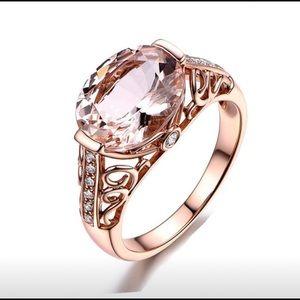 18k Rose Gold Morganite Diamond Ring